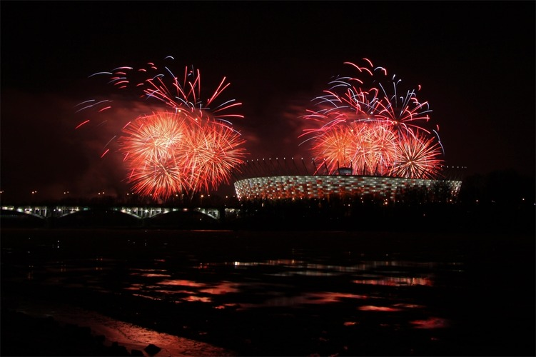 Poland National Stadium opening - Fireworks - Warsaw